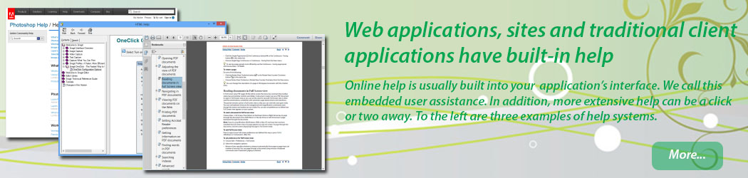 Web and mobile applications, sites and traditional client applications have built-in help