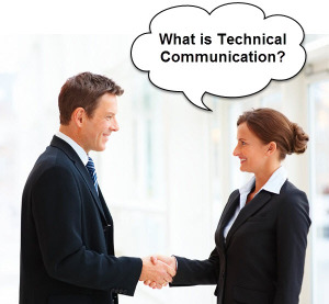 "Image of two people shaking hands. One is thinking ""what is Technical Communication?"""