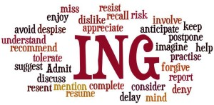Verbs that can be made gerunds by adding ing